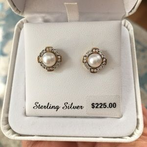 Pearl & white sapphire gold plated silver earrings
